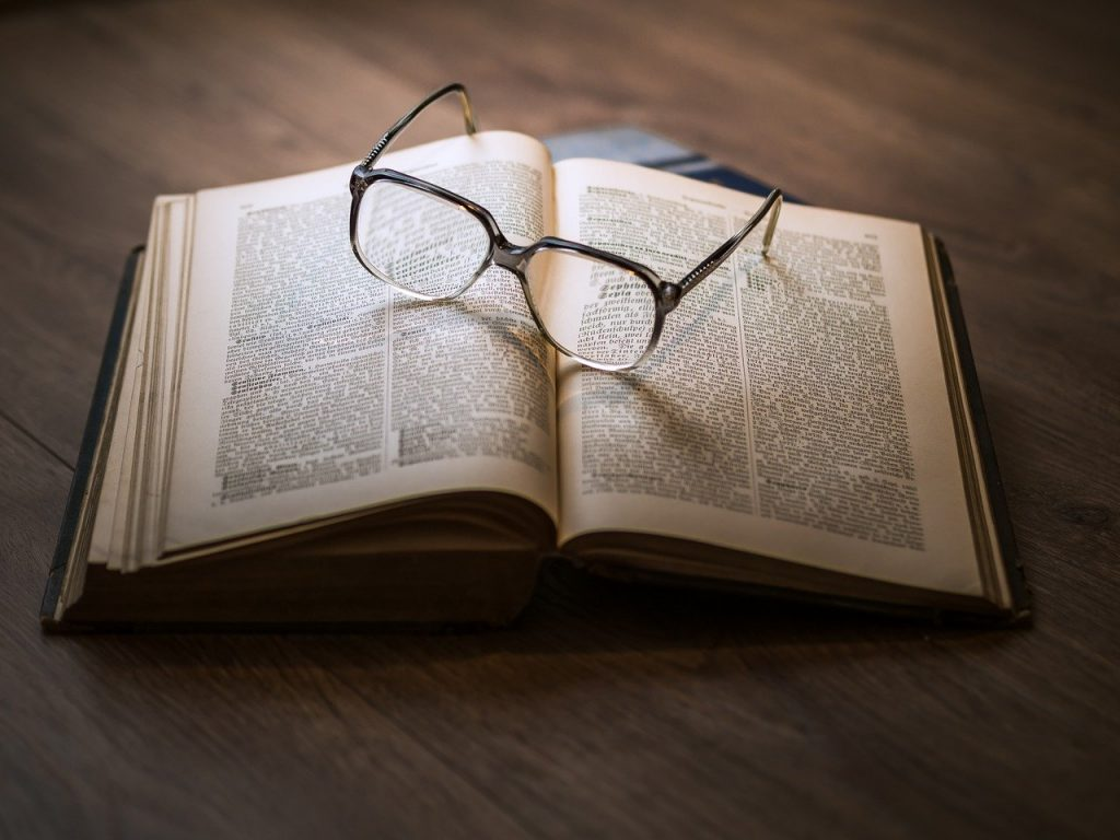 glasses, book, education